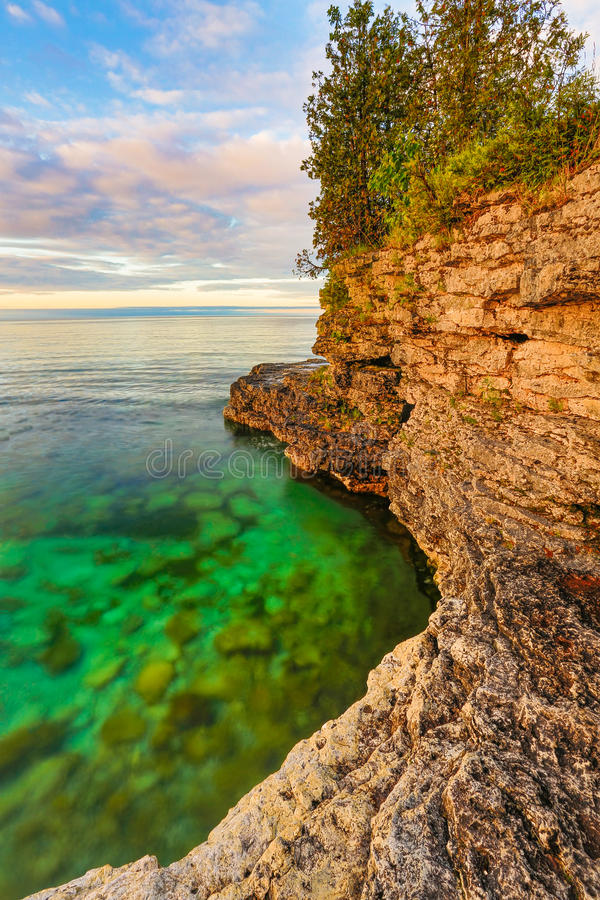 Rocky Coast at Cave Point stock image