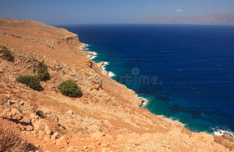Download Rocky coast in Crete stock photo. Image of blue, water - 21626550