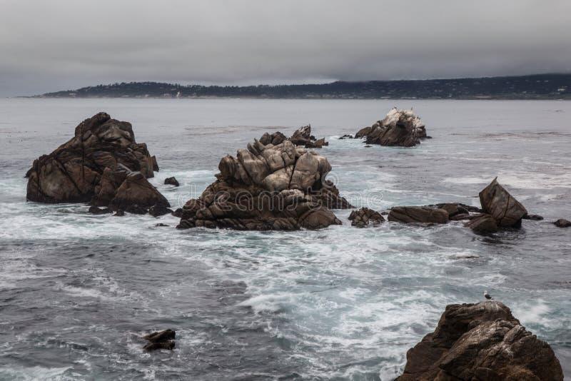 Rocky Coast dei Lobos California del punto fotografie stock