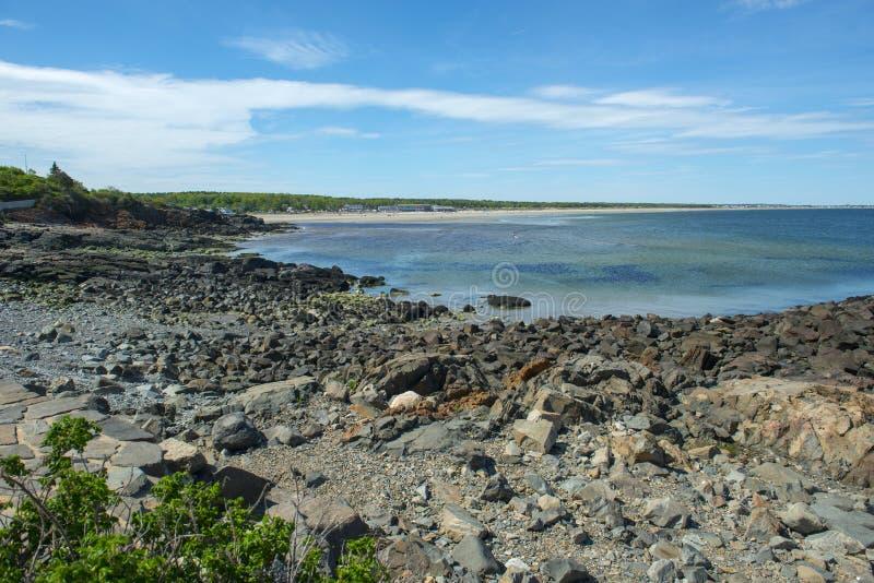 Rocky Coast em Ogunquit, MIM, EUA fotografia de stock royalty free