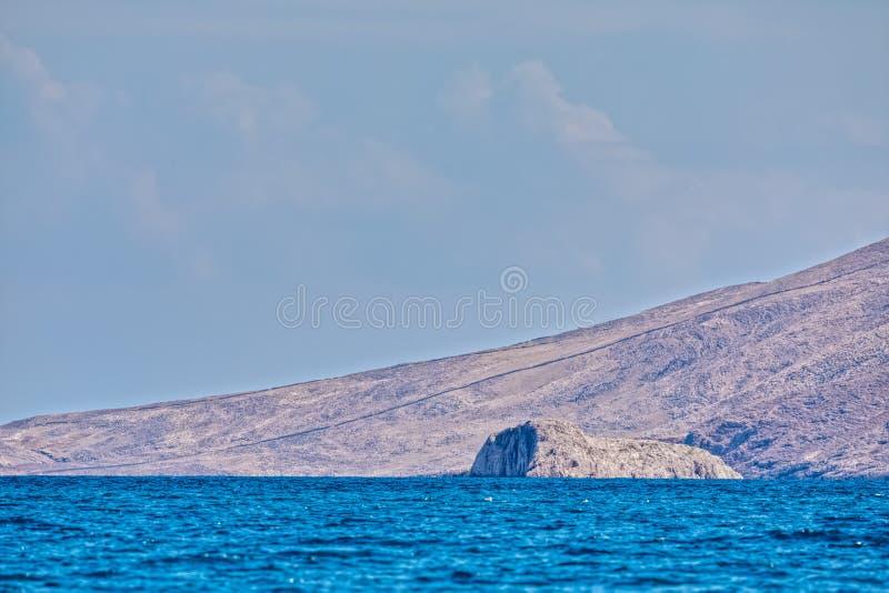 Rocky coast on the island Pag, Croatia royalty free stock photography