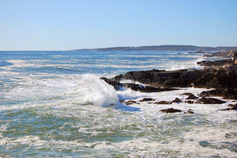 Rocky Coast på den Casco fjärden nära Portland, Maine, USA arkivbild
