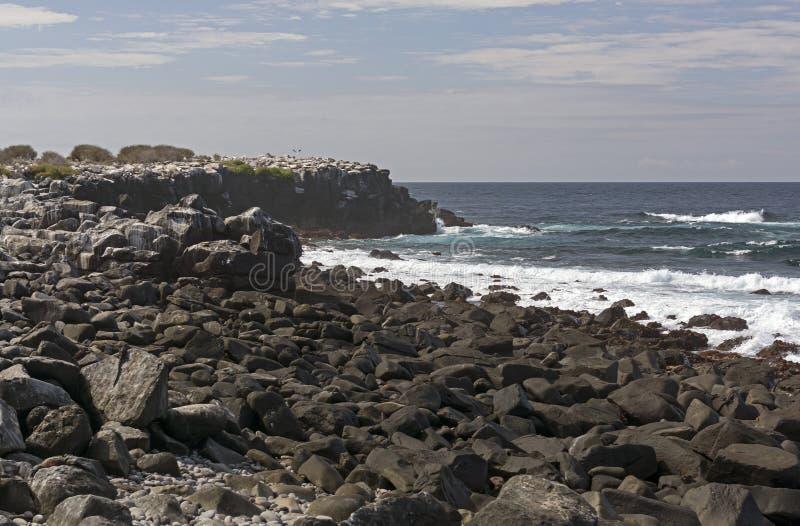 Rocky Coast on a Remote Island. Rocky Coast on Espanola Island in the Galapagos stock photos
