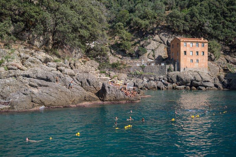 Rocky coast at San Fruttuoso bay, Liguria, Italy stock images