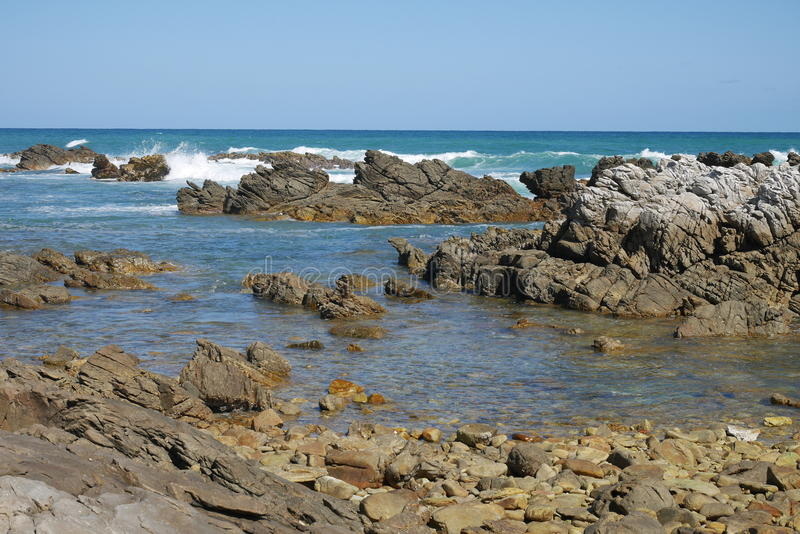 Rocky coast in south africa royalty free stock images