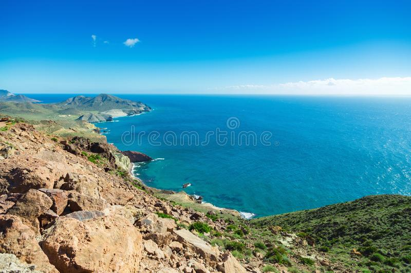Rocky coast of Spain, natural Park of Cabo de Gato. Andalusia stock image