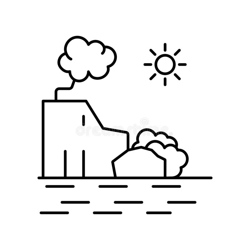 Rocky coast sun beach line icon. Element of landscapes icon. On white background royalty free illustration