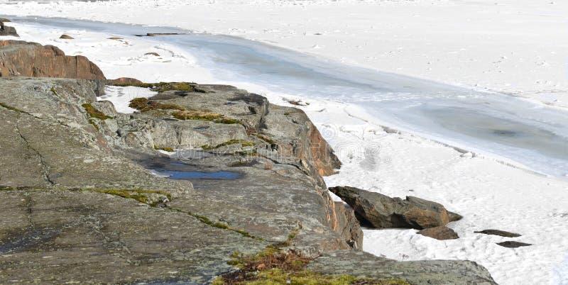 Rocky coast of Uunisaari Island, Helsinki, Finland stock photo