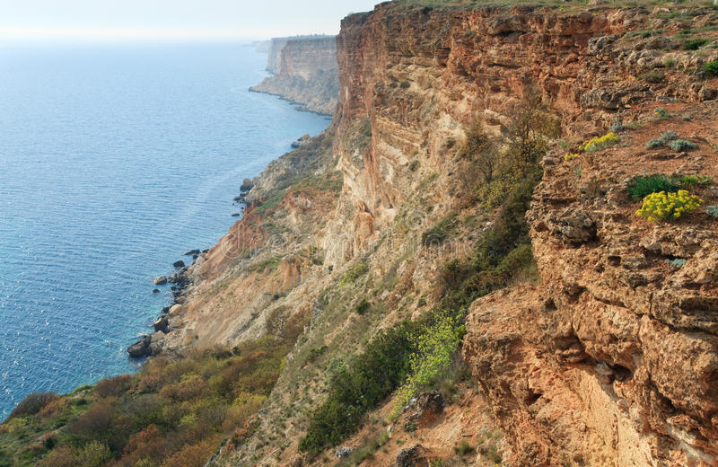 Rocky coast view. Coastal rock view from Phiolent Cape (Crimea, Ukraine royalty free stock photography