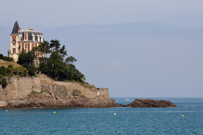 Rocky Coastal Path. The coastal path at Dinard in France and the magnificent architecture stock photo