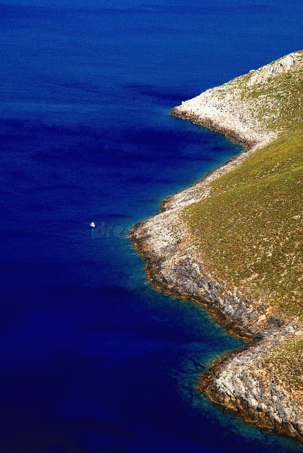 Rocky coastline, Aegean sea, Leros island, Greece. Rocky coastline of the Aegean sea, Leros island, Dodecanese islands, Greece royalty free stock photo