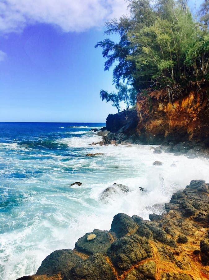 Rocky coastline on the Big Island of Hawaii. Rocky coastline with rough waves on the Big Island of Hawaii royalty free stock photo