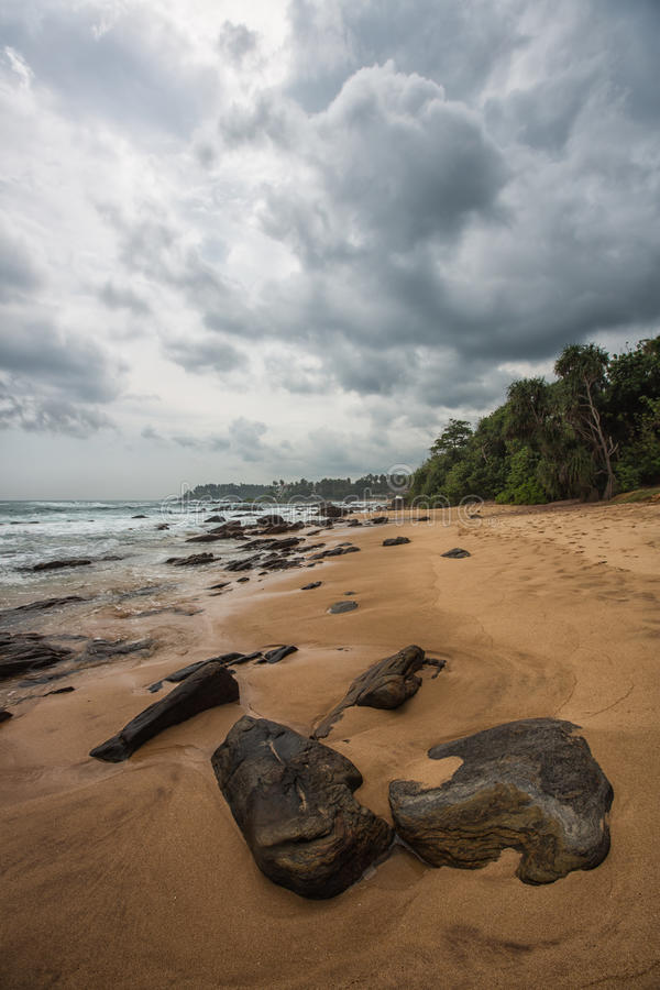 Rocky coastline of Galle, Sri Lanka royalty free stock image