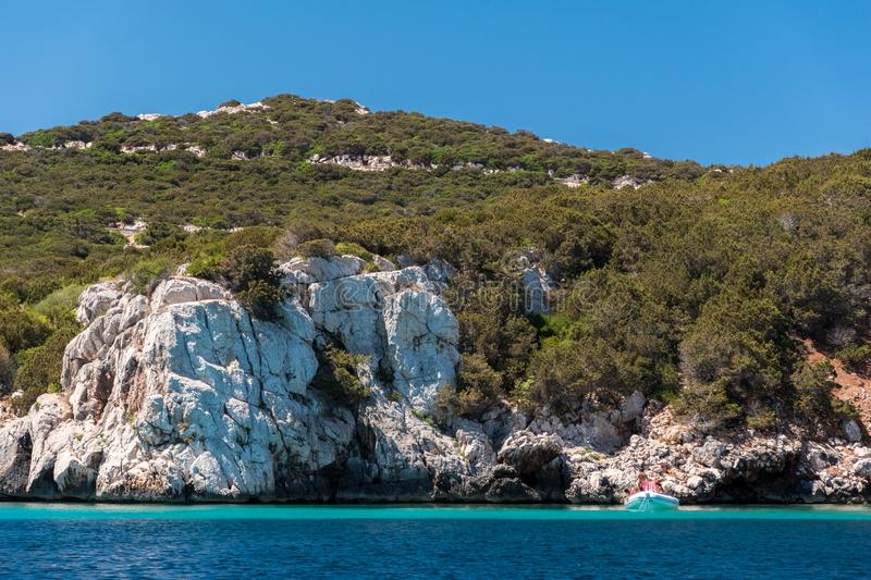 Rocky coastline near Alghero Sardinia, in the eastern side of Capo Caccia promontory royalty free stock image