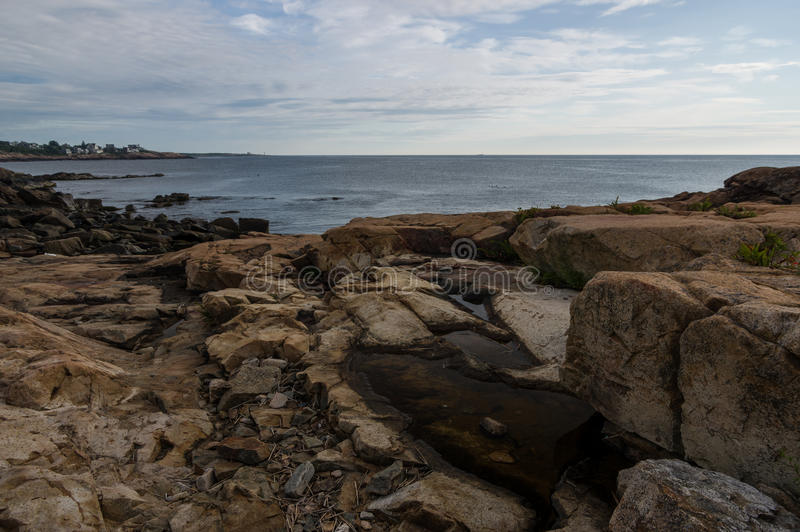 Rocky coastline of New England royalty free stock photos