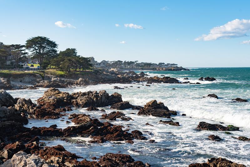 Rocky coastline on Pacific Grove, California. Pacific Grove is a coastal city in Monterey County, California in the United States stock images