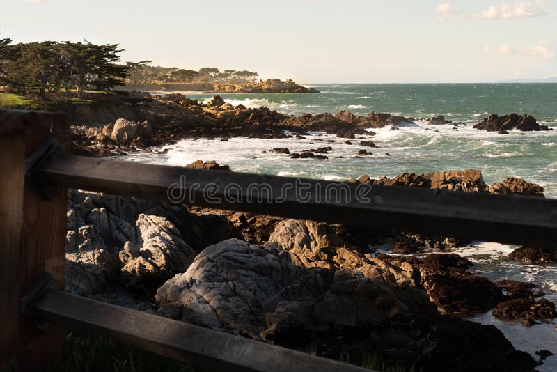 Rocky coastline on Pacific Grove, California. Pacific Grove is a coastal city in Monterey County, California in the United States stock photography