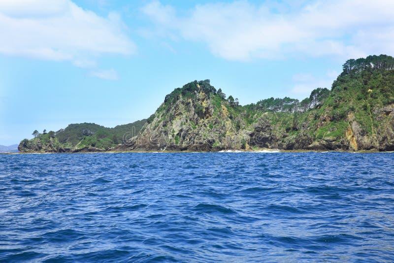 Rocky coastline, Russell, Bay of Islands, New Zealand.  stock photo