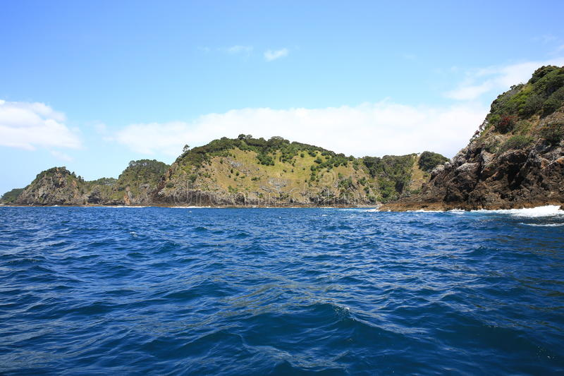 Rocky coastline, Russell, Bay of Islands, New Zealand.  stock photography