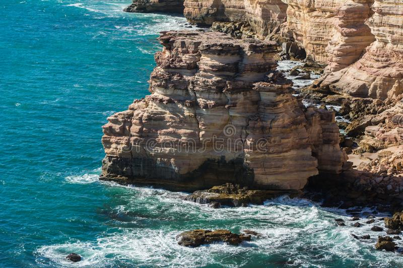 Rocky coastline with strong surge and high cliffs. Landscape view of the limestone coast with Indian Ocean views at western Austra. Travel View of Kalbarri royalty free stock photography