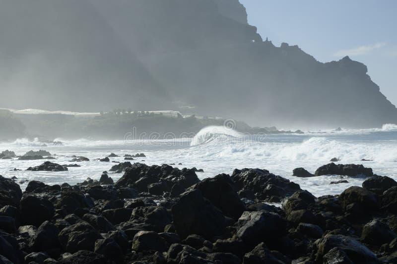 Rocky Costadel Buenavista-strand, Tenerife, Kanarie, Spanje royalty-vrije stock afbeeldingen