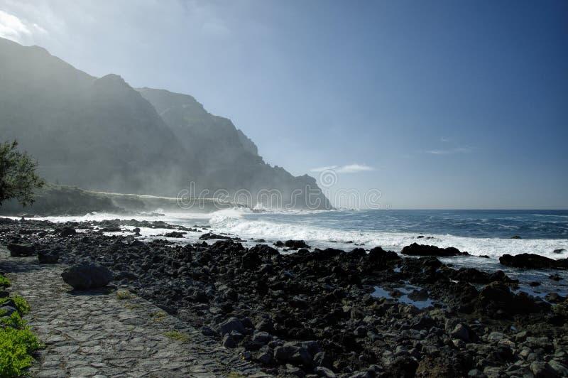 Rocky Costadel Buenavista-strand, Tenerife, Kanarie, Spanje stock foto