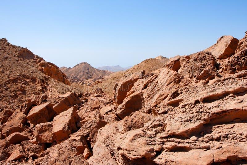 Rocky desert landscape near Eilat in Israel. Red rocky desert landscape near Eilat in Israel stock photo