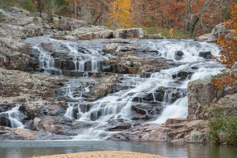 Rocky Falls in Missouri. Rocky Falls in the Ozark National Scenic Riverways in souther Missouri during autumn stock images