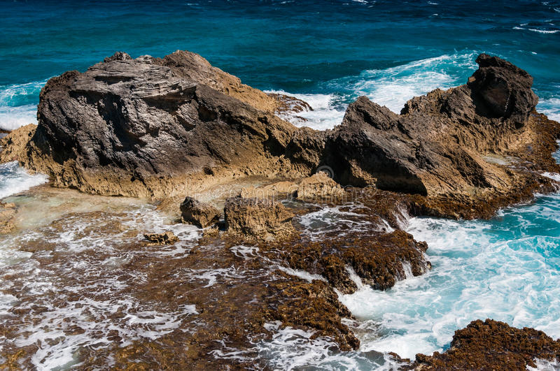 Rocky formation on the Caribbean shore in Mexico royalty free stock images