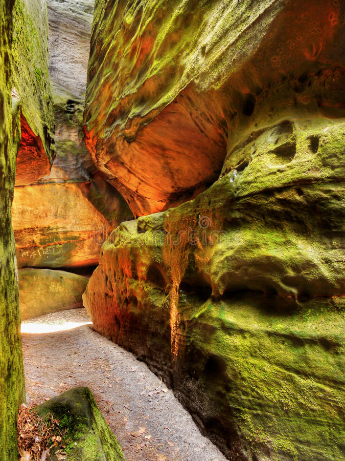 Rocky Gorge Trail. Rocky corridor in mountain gorge. Rocky passage mountain trail stock photos