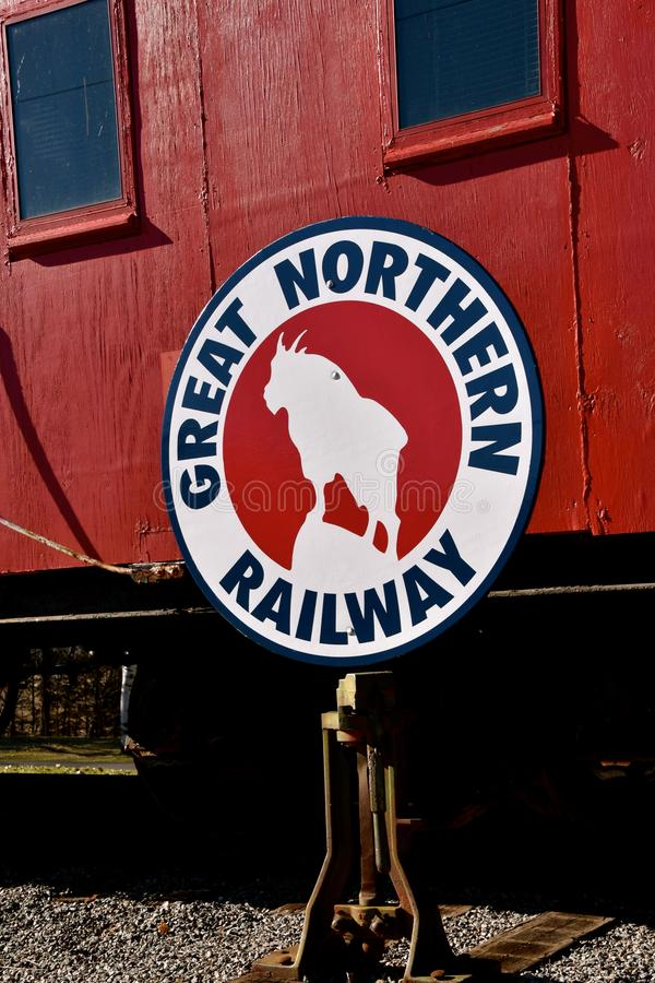 Rocky, the Great Northern train logo. ST. CLOUD, MINNESOTA, April 19, 2019: The Great Northern Railway was a creation of James J. Hill, which ran a train from St royalty free stock photo