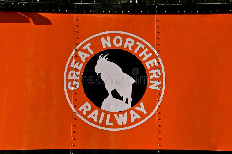 Rocky, the Great Northern train logo. ST. CLOUD, MINNESOTA, April 19, 2019: The Great Northern Railway was a creation of James J. Hill, which ran a train from St royalty free stock image