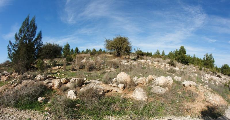 Rocky green hill view distorted by fisheye royalty free stock images