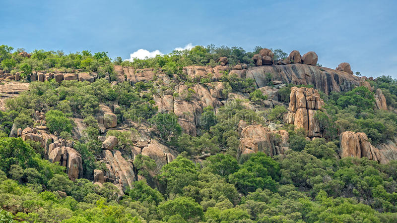 Rocky Hills of Gaborone. Lush green vegetation on the rocky hills at the outskirts of Gaborone, Botswana royalty free stock images