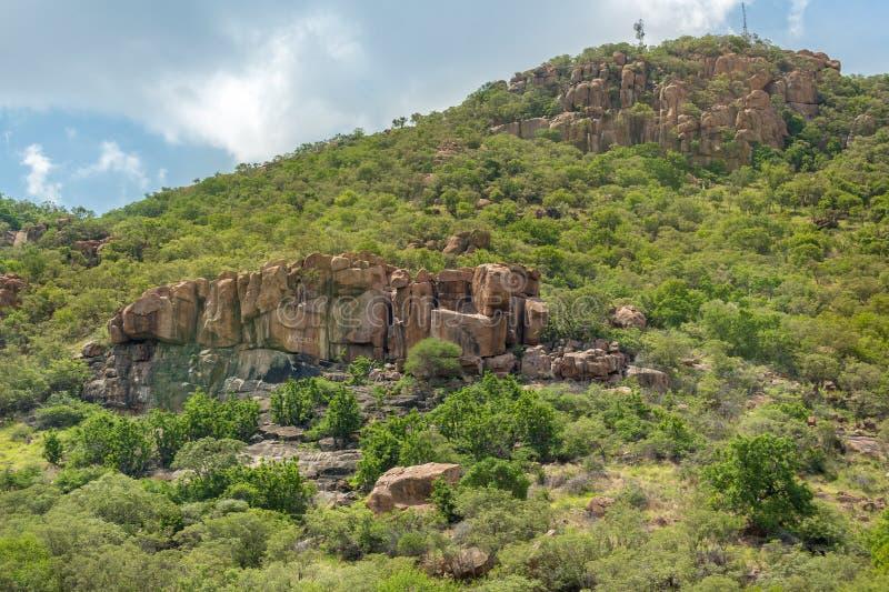 Rocky Hills of Gaborone. Lush green vegetation on the rocky hills at the outskirts of Gaborone, Botswana stock photography
