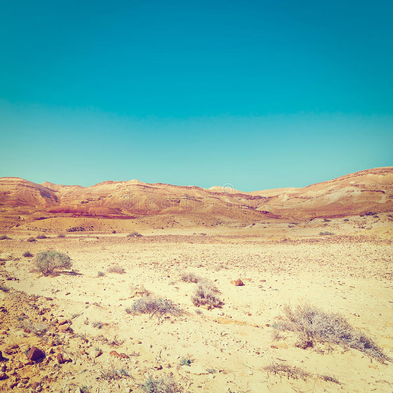 Rocky Hills. Of the Negev Desert in Israel, Instagram Effect royalty free stock photo