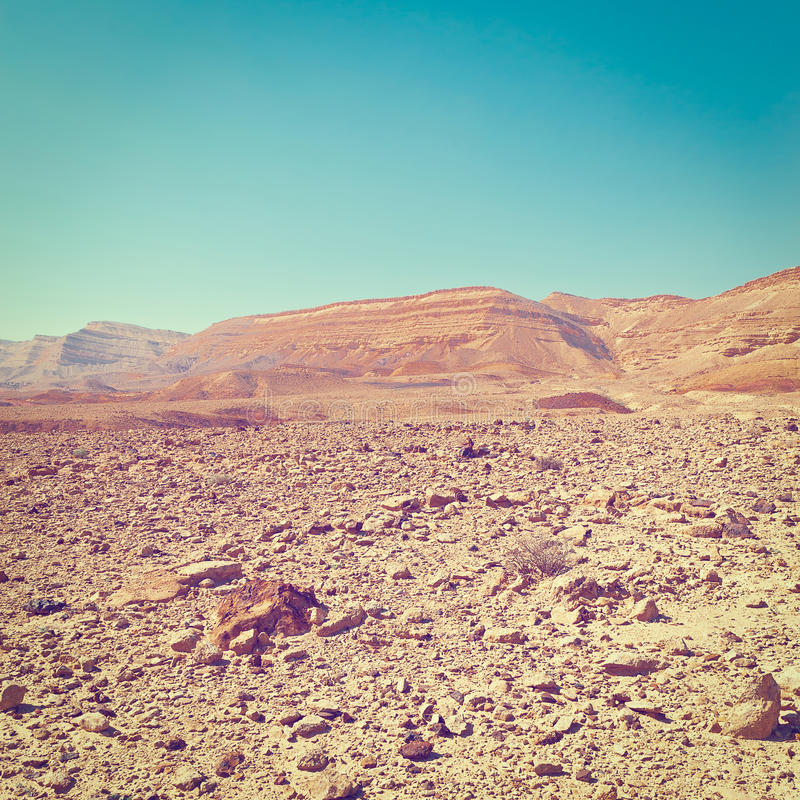 Rocky Hills. Of the Negev Desert in Israel, Instagram Effect royalty free stock photo