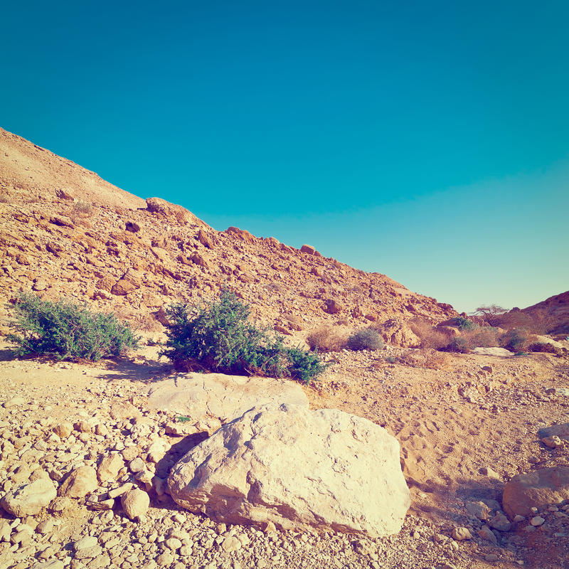 Rocky Hills. Of the Negev Desert in Israel, Instagram Effect royalty free stock photography