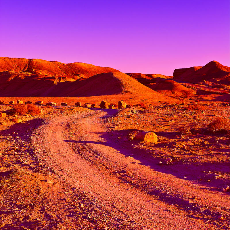Rocky Hills. Of the Negev Desert in Israel at Sunset stock photography