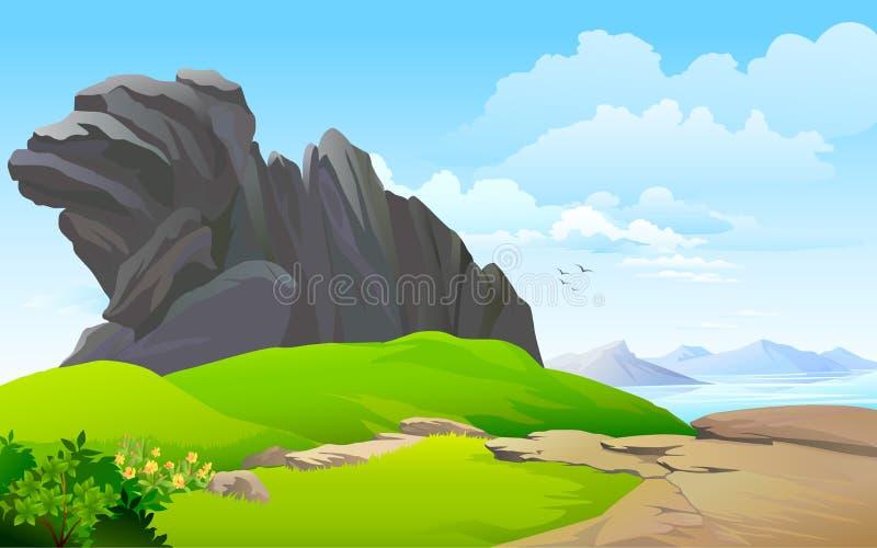 Rocky hills , river and vast blue sky stock illustration