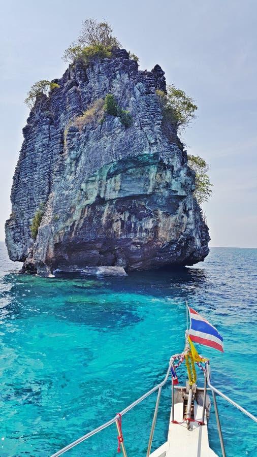 Rocky Island seen from boat. Rocky Island near Krabi, Thailand. Snorkel paradise around this rock stone royalty free stock photo