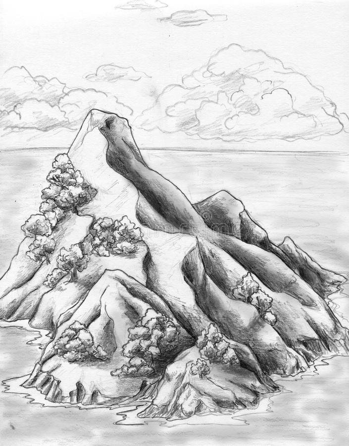 Rocky island in the sea. Lonely uninhabited island (possibly - tresure island) in the sea. Pencil drawing, sketch vector illustration