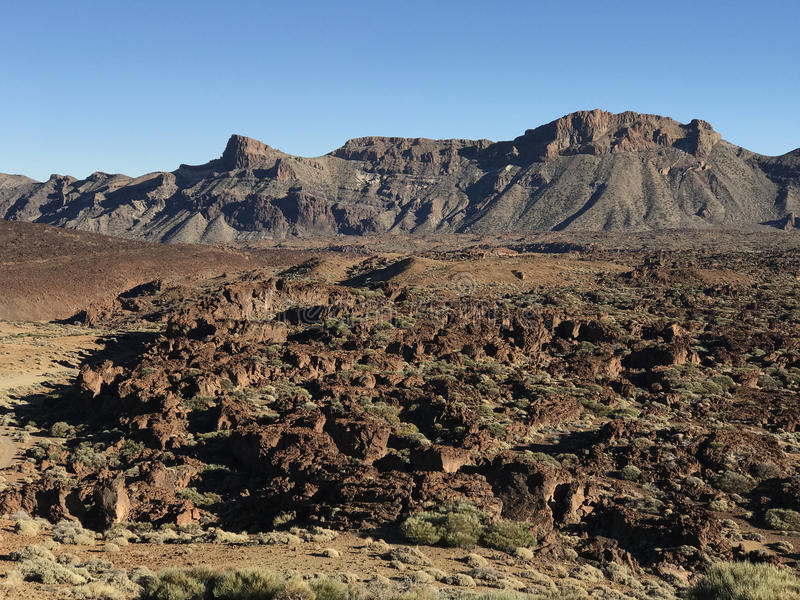 Rocky landscape. Around Mount Teide a volcano on Tenerife in the Canary Islands stock image