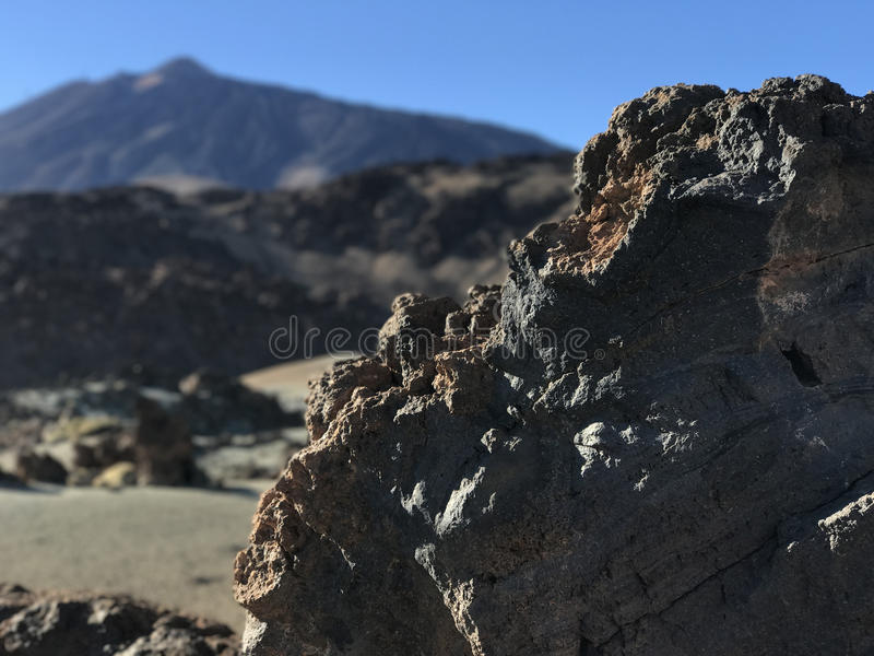 Rocky landscape. Around Mount Teide a volcano on Tenerife in the Canary Islands stock photo