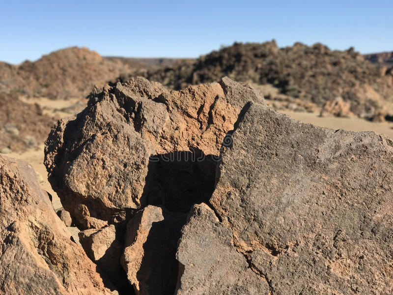 Rocky landscape. Around Mount Teide a volcano on Tenerife in the Canary Islands royalty free stock image