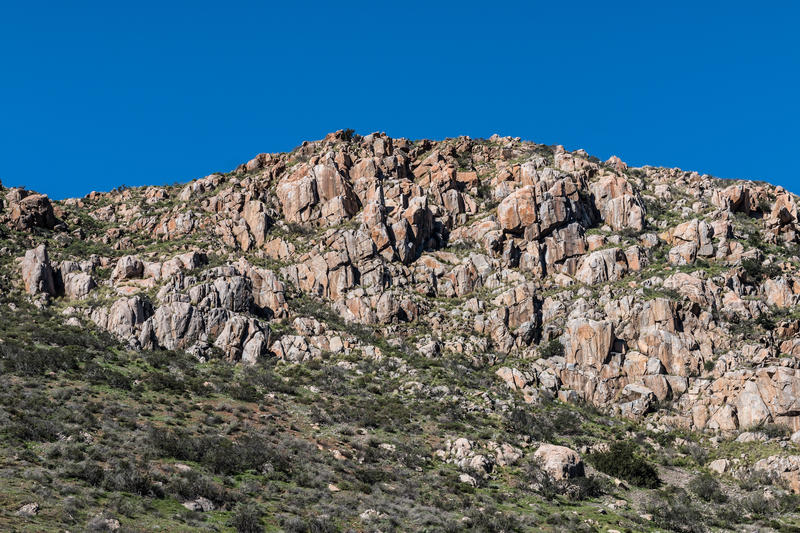 Rocky Landscape on Fortuna Mountain. At Mission Trails Regional Park in San Diego, California royalty free stock photography