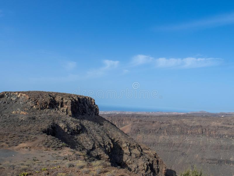 Rocky landscape in Gran Canaria, Canary island. Rocky landscape on the road between Arteara and Roque Nublo, Gran Canaria island, Spain. Gran Canaria is the royalty free stock image