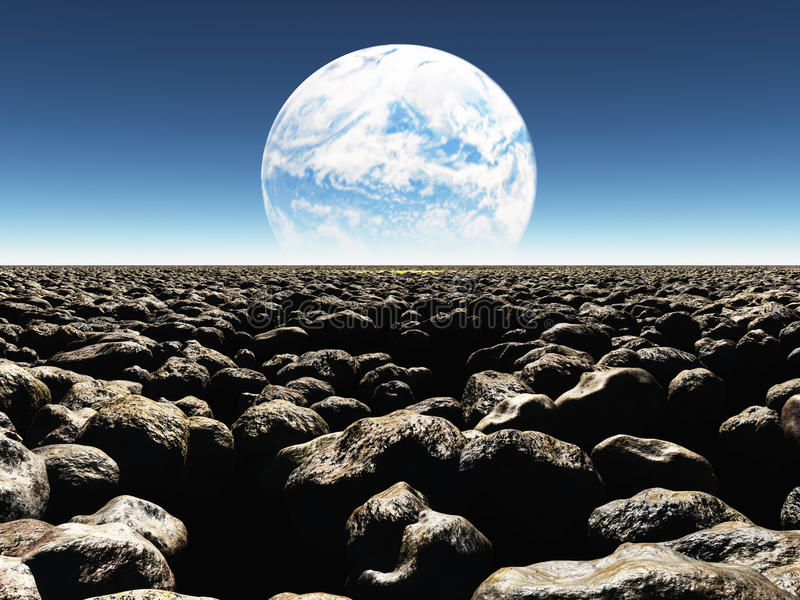 Download Rocky Landscape With Planet Or Terraformed Moon In Th Royalty Free Stock Images - Image: 32995859