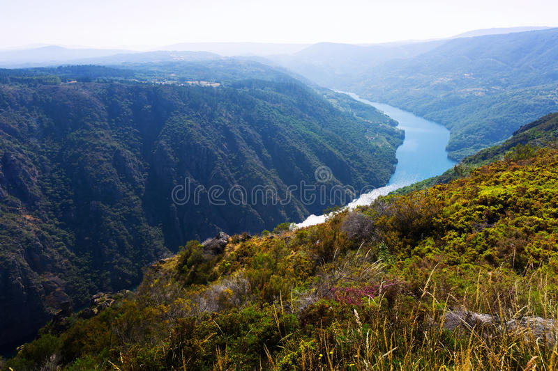 Rocky landscape with river in Galicia royalty free stock image