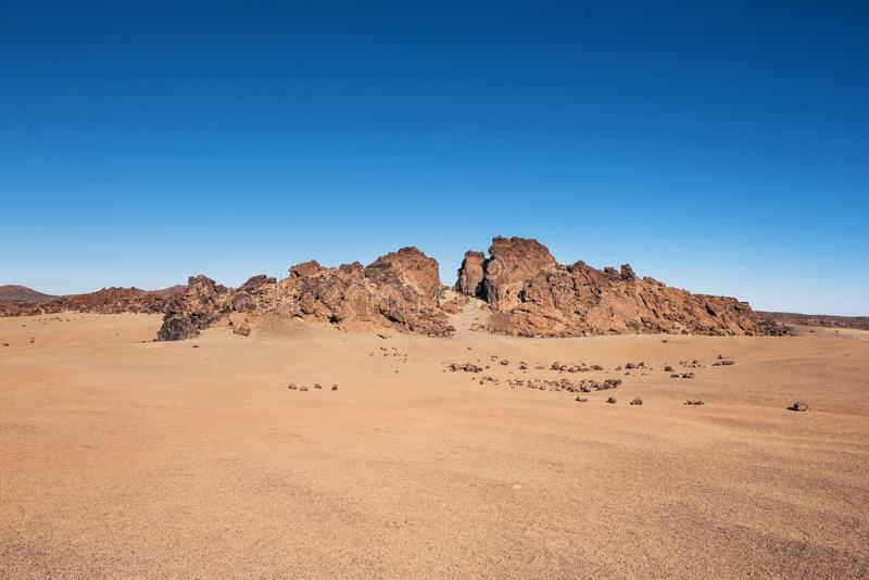Rocky landscape in Teide national park. This natural scenary was used for the fim clash of Titans, Tenerife, Canary islands, Spain royalty free stock photography